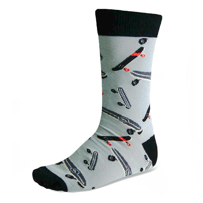 Men's skateboard theme socks on black and white background