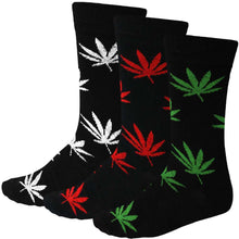Load image into Gallery viewer, Men's 3 pack weed leaf socks, white, red, green and black