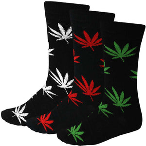 Men's 3 pack weed leaf socks, white, red, green and black