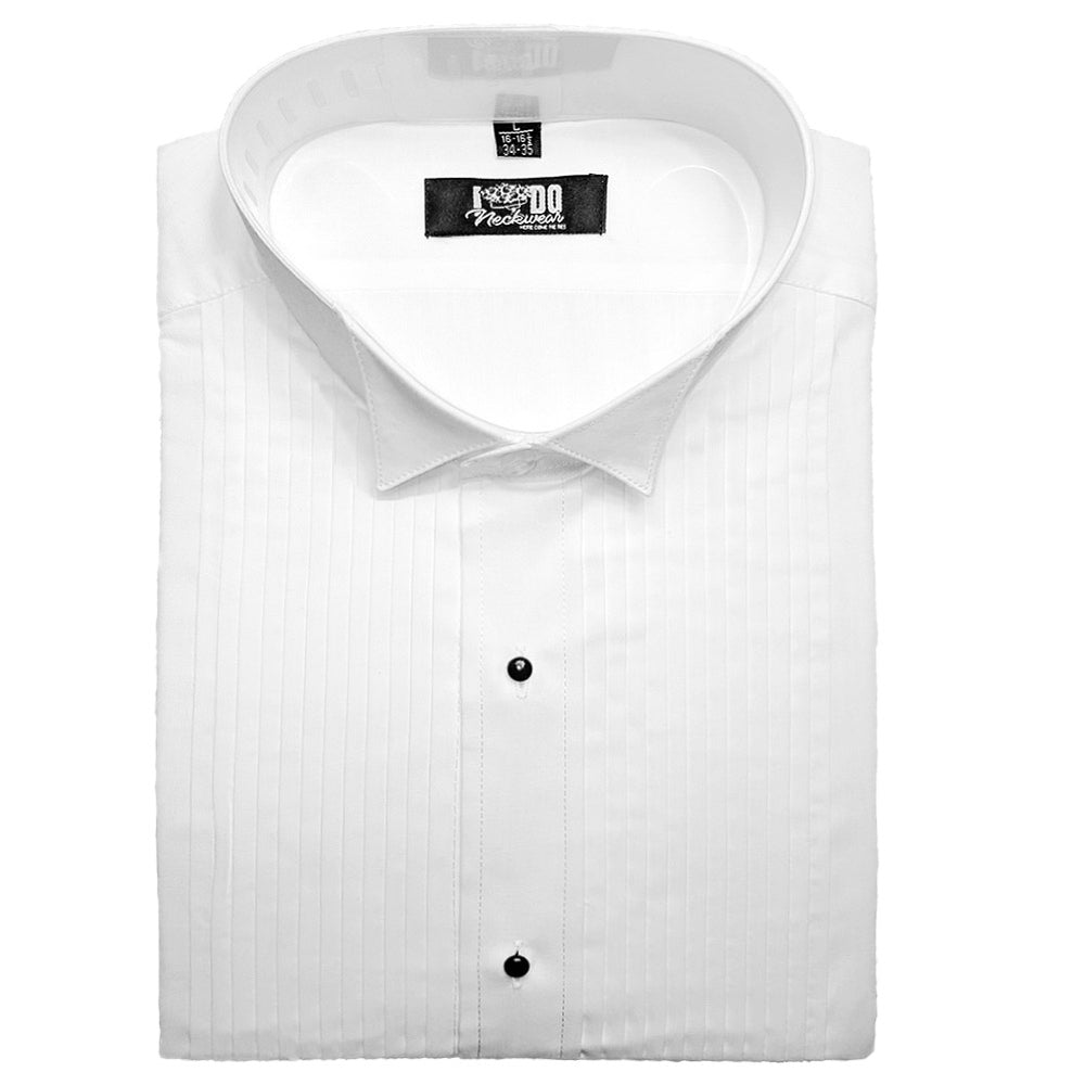 Men's Pleated Wing Collar Tuxedo Shirt