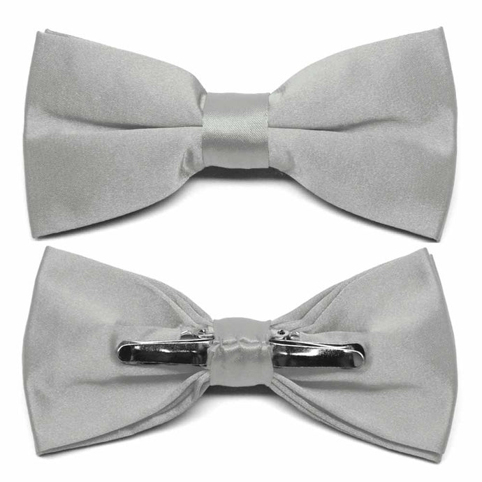Mercury Silver Clip-On Bow Tie