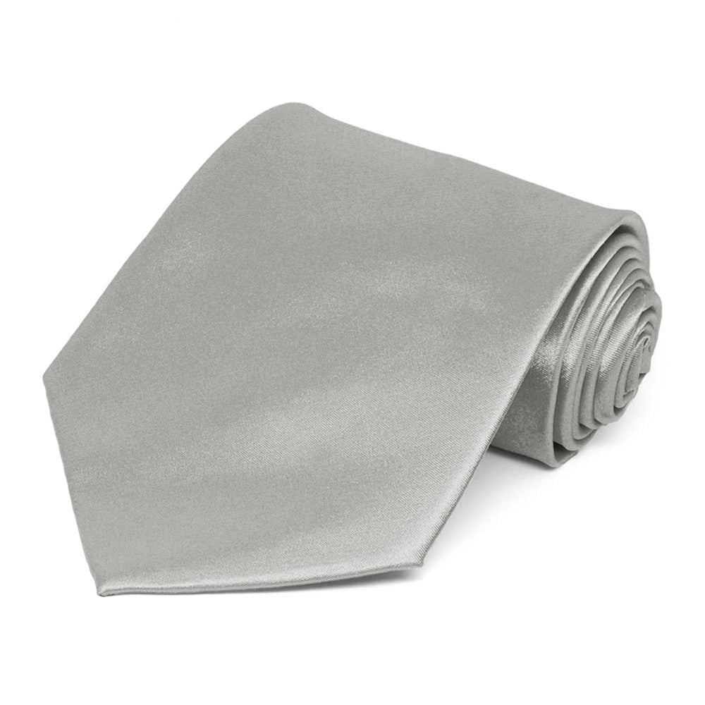 Mercury Silver Extra Long Solid Color Necktie