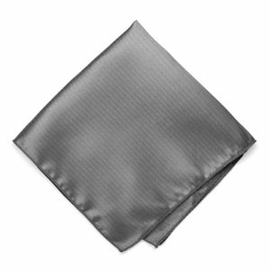 Mercury Silver Herringbone Silk Pocket Square