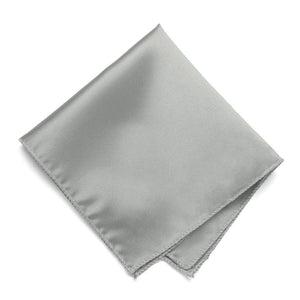Mercury Silver Solid Color Pocket Square