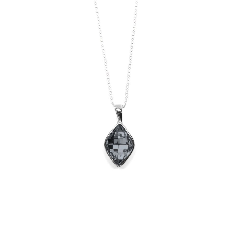 Graphite Gray Rhombus Shaped Crystal Necklace