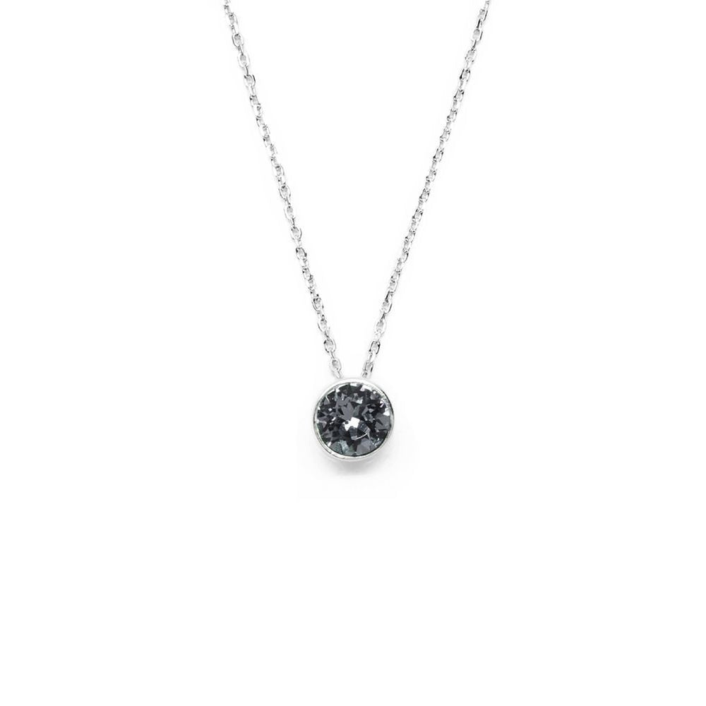 Graphite Gray Round Crystal Necklace
