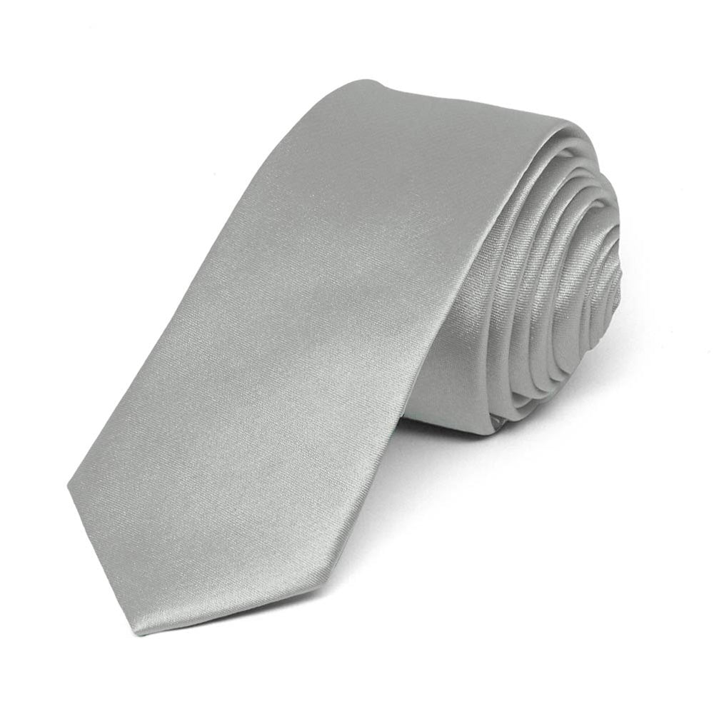 Mercury Silver Skinny Solid Color Necktie, 2