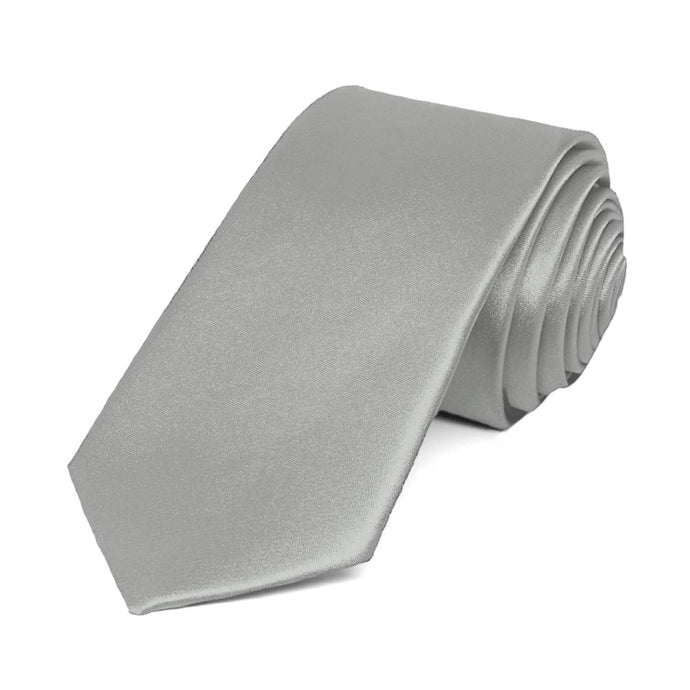 Mercury Silver Slim Solid Color Necktie, 2.5