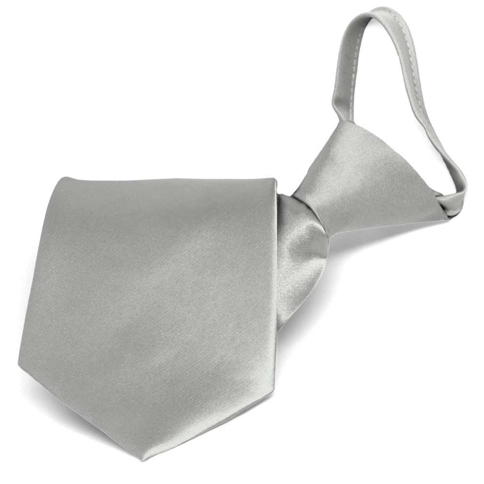 Mercury Silver Solid Color Zipper Tie