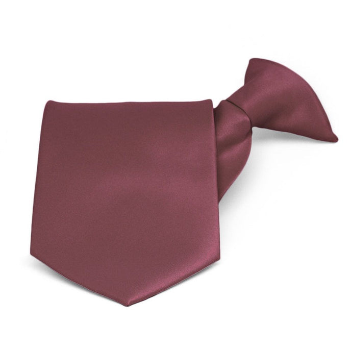 Merlot Solid Color Clip-On Tie