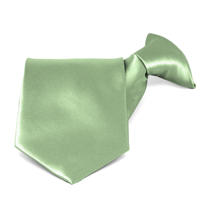 Mint Green Solid Color Clip-On Tie