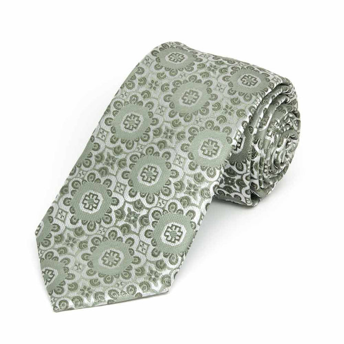 Mint Green Emma Floral Pattern Slim Necktie, 2.5