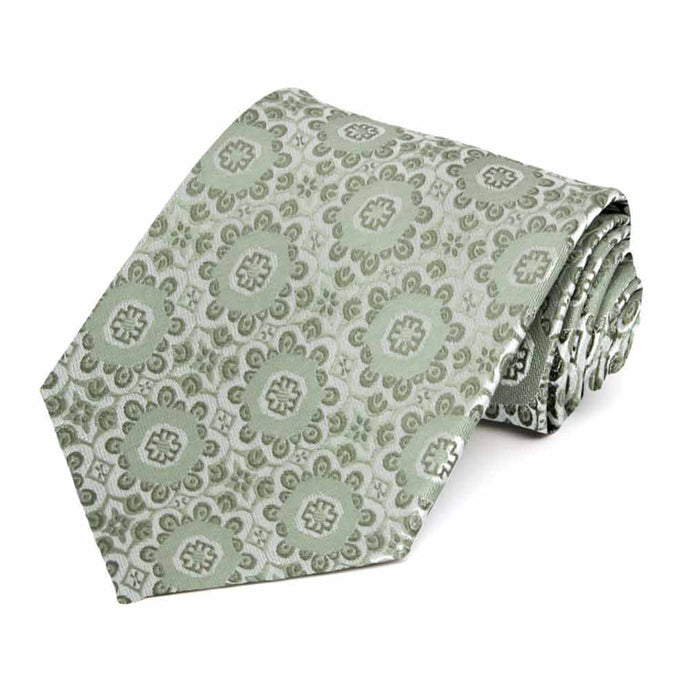 Mint Green Emma Floral Pattern Extra Long Necktie