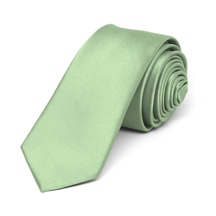 Mint Green Skinny Solid Color Necktie, 2