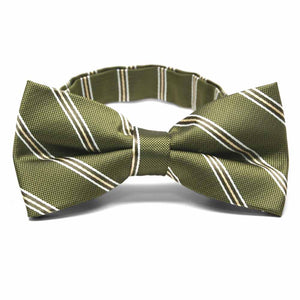 Moss Green Melvin Stripe Band Collar Bow Tie