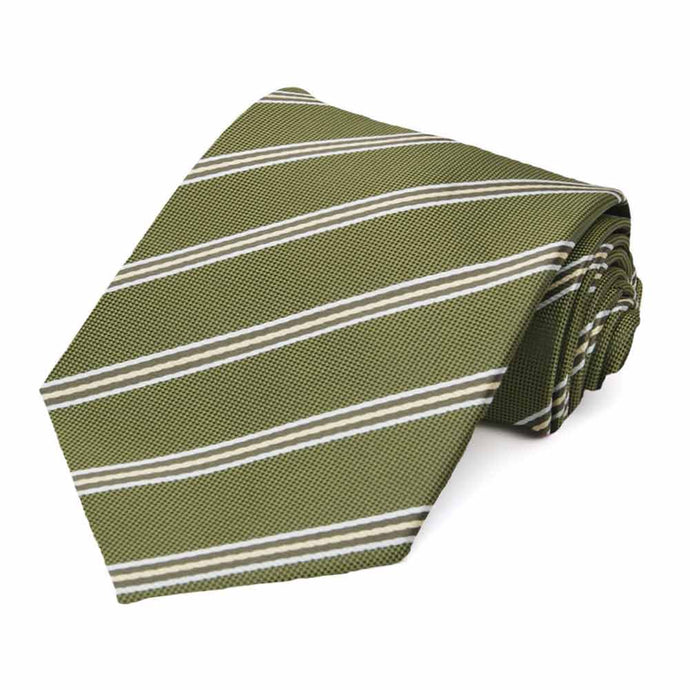 Moss Green Melvin Stripe Extra Long Necktie
