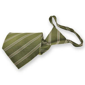 Moss Green Melvin Stripe Zipper Tie