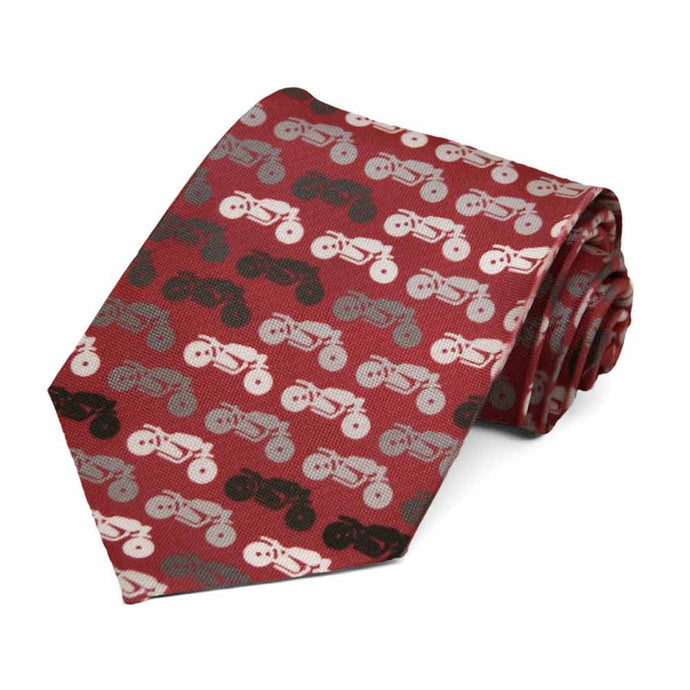 A motorcycle themed novelty tie in maroon, black and gray