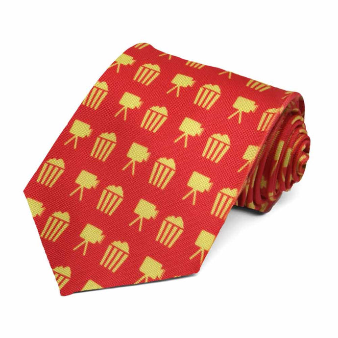 Yellow popcorn buckets on a red tie.