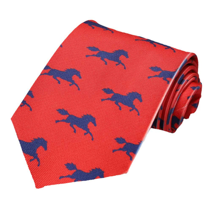 Blue galloping horses on a red tie.