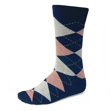 Men's Navy Blue and Blush Pink Argyle Socks