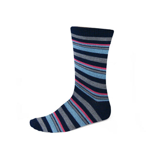 Women's blue, gray and hot pink striped socks