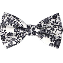 Load image into Gallery viewer, Navy blue and white floral bow tie