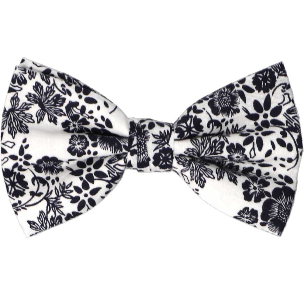 Navy blue and white floral bow tie