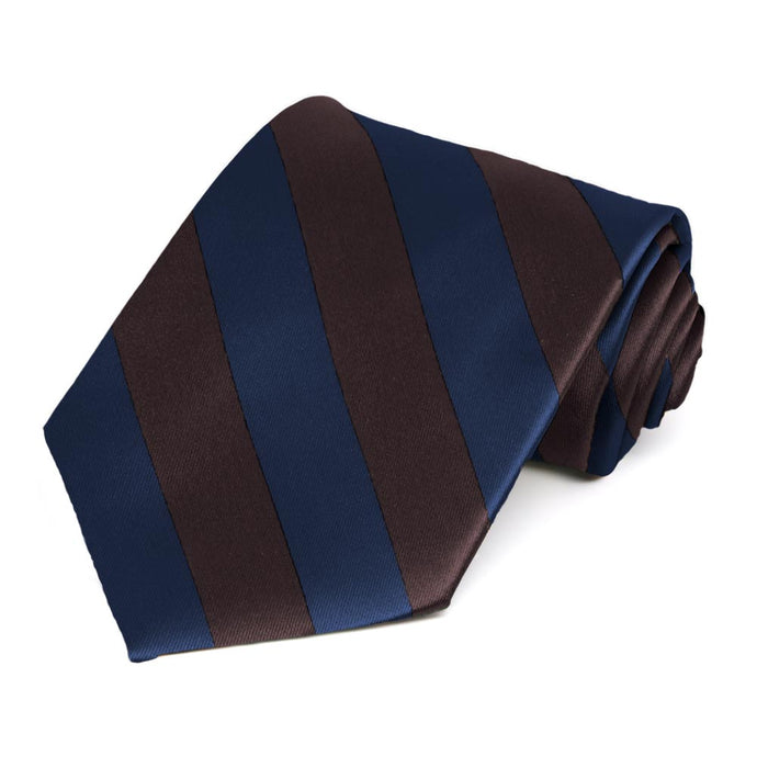 Navy Blue and Brown Striped Tie