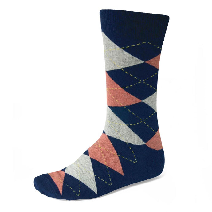 Men's Navy Blue and Coral Argyle Socks