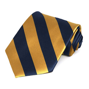 Navy Blue and Gold Bar Extra Long Striped Tie