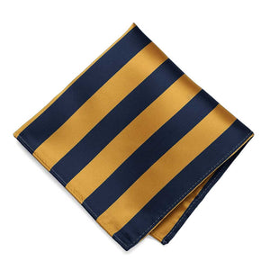 Navy Blue and Gold Bar Striped Pocket Square