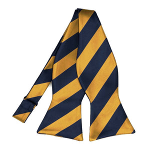 Navy Blue and Gold Bar Striped Self-Tie Bow Tie