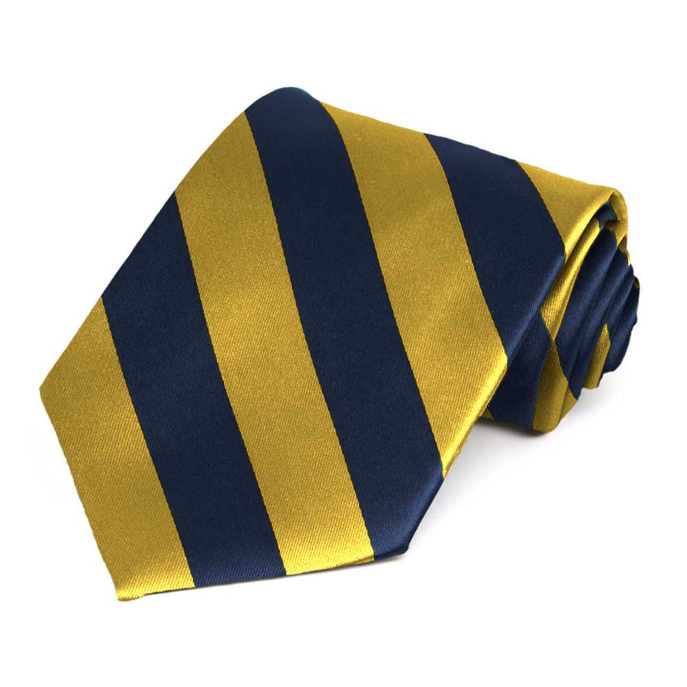 Navy Blue and Gold Extra Long Striped Tie