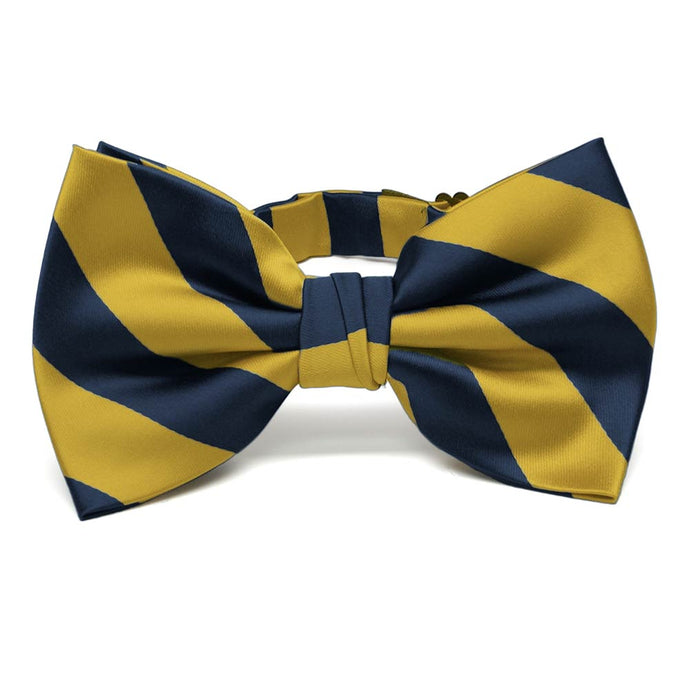 Navy Blue and Gold Striped Bow Tie