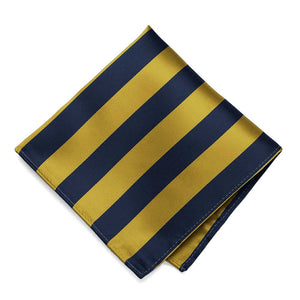 Navy Blue and Gold Striped Pocket Square