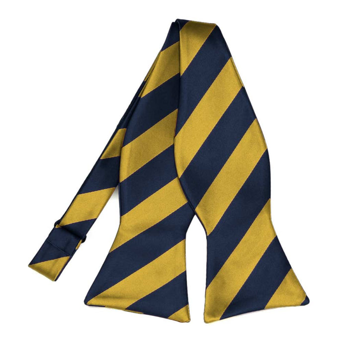 Navy Blue and Gold Striped Self-Tie Bow Tie