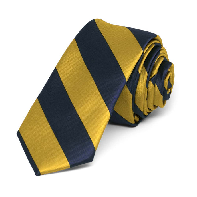 Navy Blue and Gold Striped Skinny Tie, 2