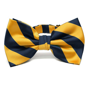 Navy Blue and Golden Yellow Striped Bow Tie