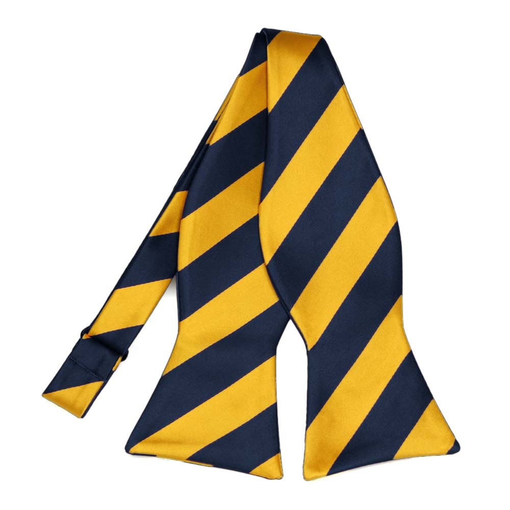 Navy Blue and Golden Yellow Striped Self-Tie Bow Tie