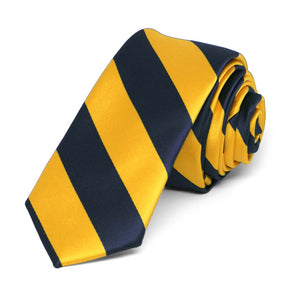"Navy Blue and Golden Yellow Striped Skinny Tie, 2"" Width"