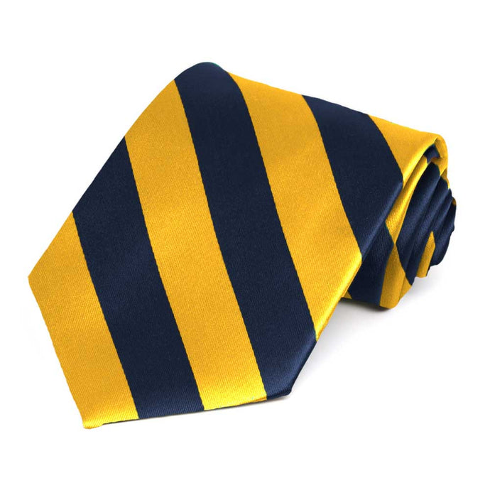Navy Blue and Golden Yellow Striped Tie