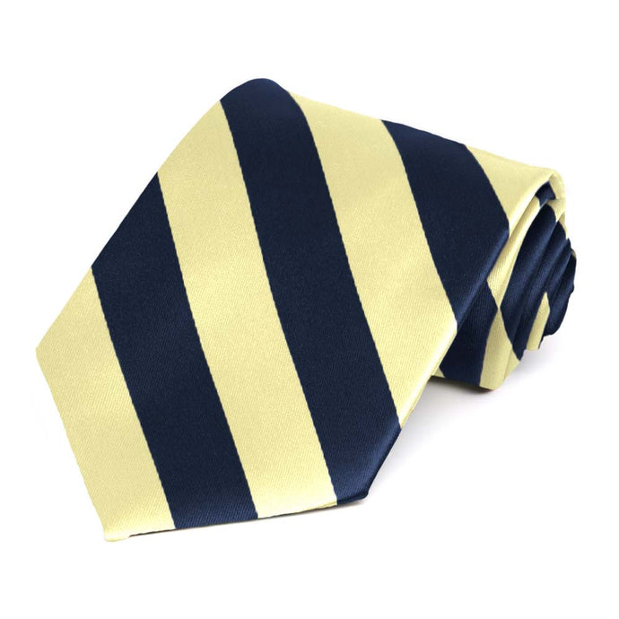 Navy Blue and Light Yellow Striped Tie