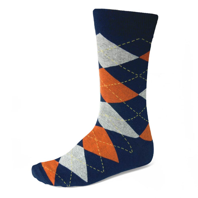 Men's Navy Blue and Orange Argyle Socks