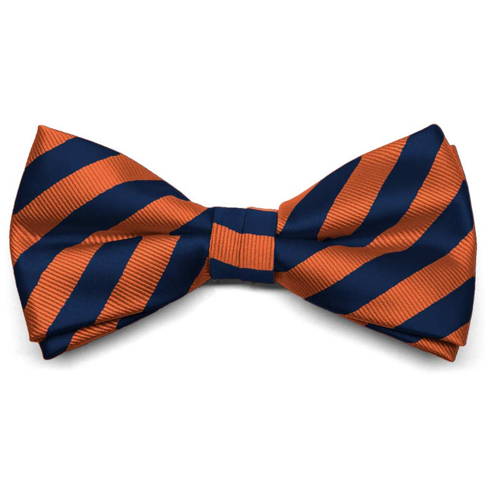 Navy Blue and Orange Formal Striped Bow Tie