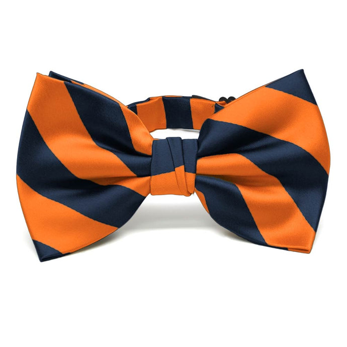 Navy Blue and Orange Striped Bow Tie