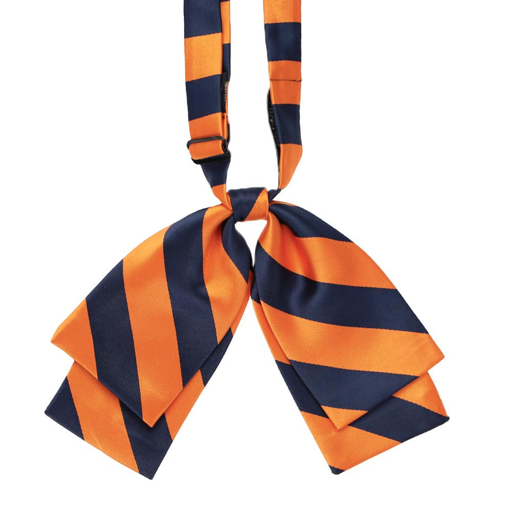 Navy Blue and Orange Striped Floppy Bow Tie