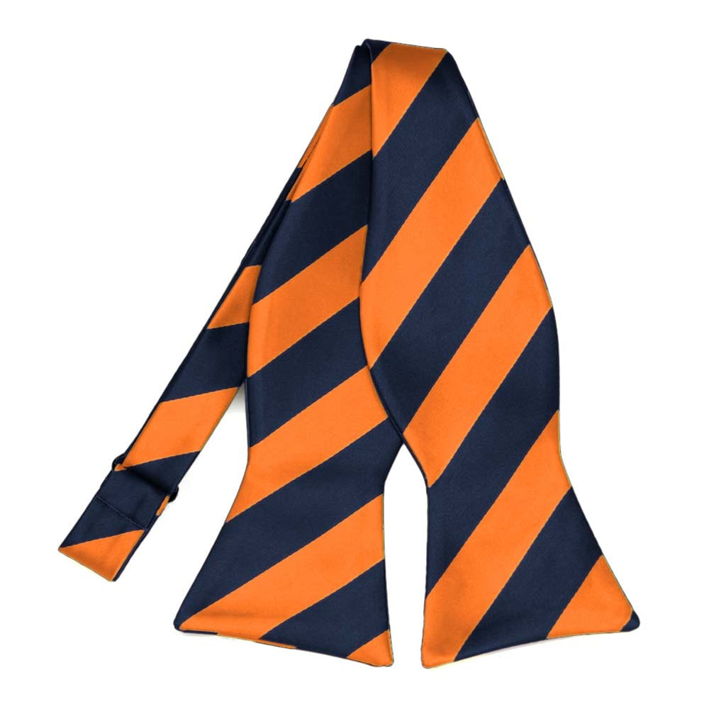 Navy Blue and Orange Striped Self-Tie Bow Tie