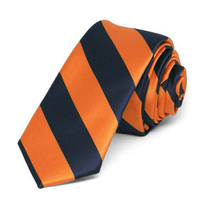 "Navy Blue and Orange Striped Skinny Tie, 2"" Width"