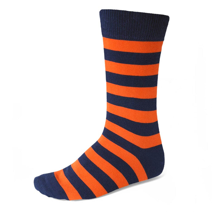 Men's Navy Blue and Orange Striped Socks